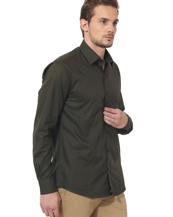Olive solid club wear shirt 3