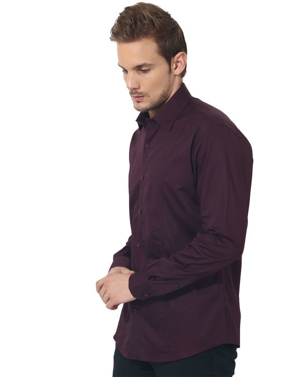 Maroon solid club wear shirt 2