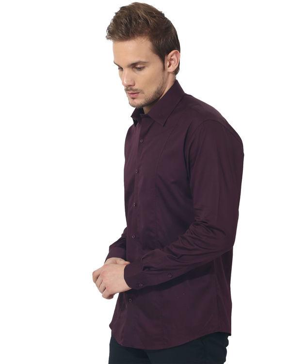 Maroon solid club wear shirt 2