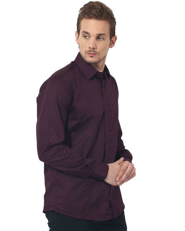 Maroon solid club wear shirt 3