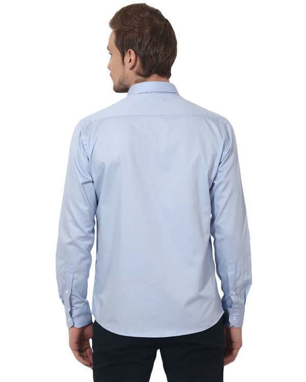 Sky blue solid club wear shirt 1