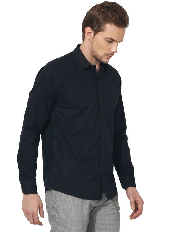 Black bon solid club wear shirt 3