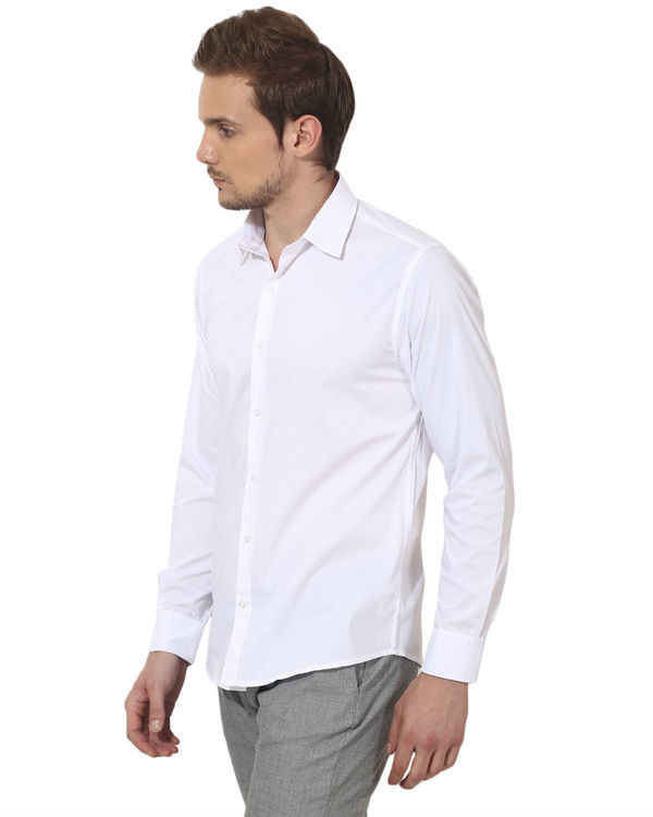 White bon solid club wear shirt 2