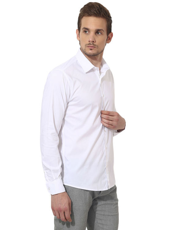 White bon solid club wear shirt 3