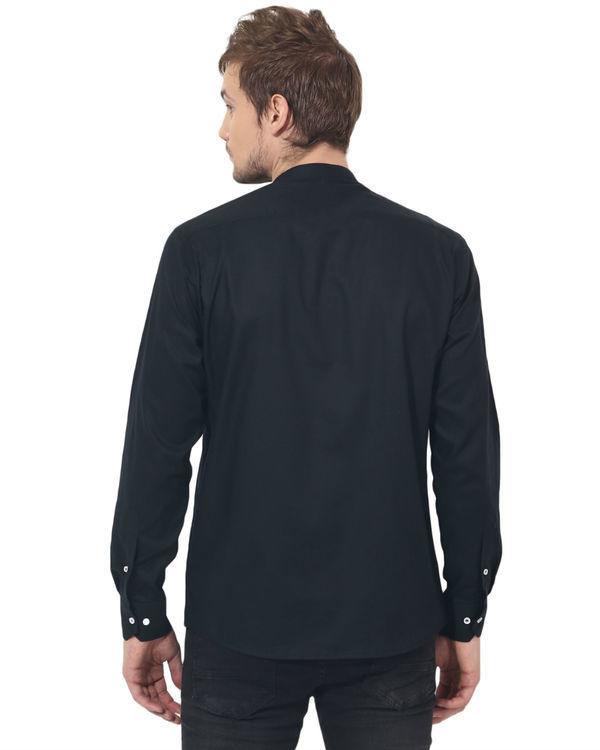 Black mandarin solid club wear shirt 1