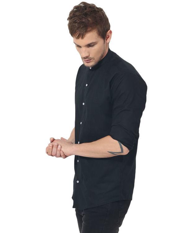 Black mandarin solid club wear shirt 2