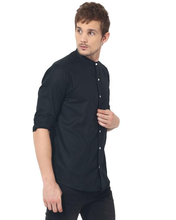Black mandarin solid club wear shirt 3
