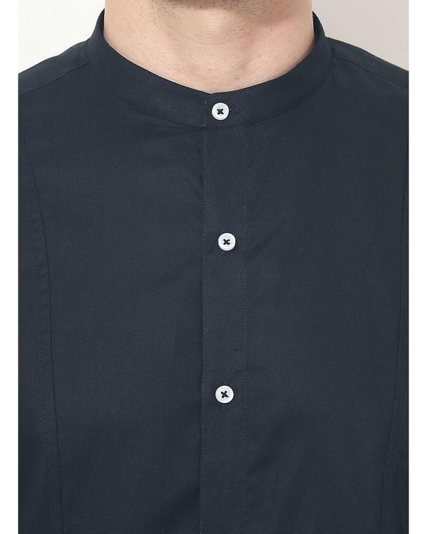 Black mandarin solid club wear shirt 4