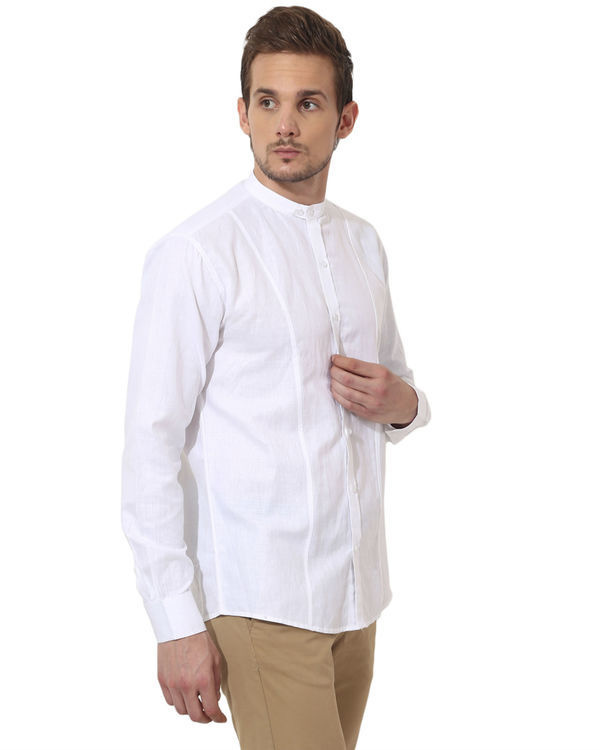 White mandarin solid club wear shirt 2