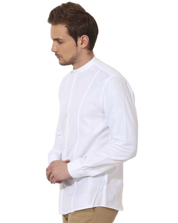 White mandarin solid club wear shirt 3
