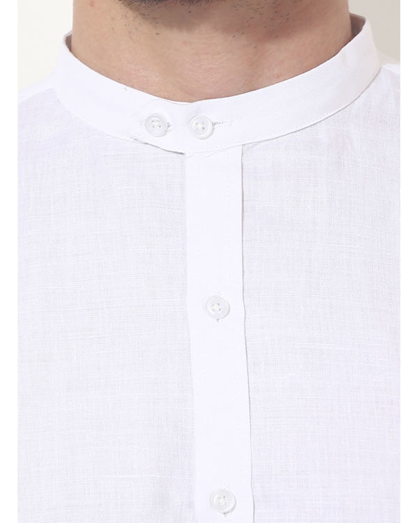 White mandarin solid club wear shirt 5