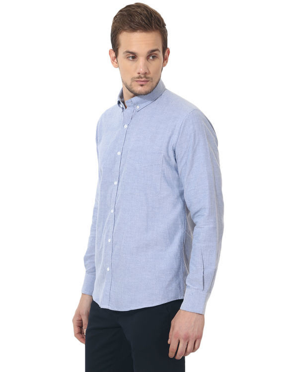 Sky blue oxford solid club wear shirt 3