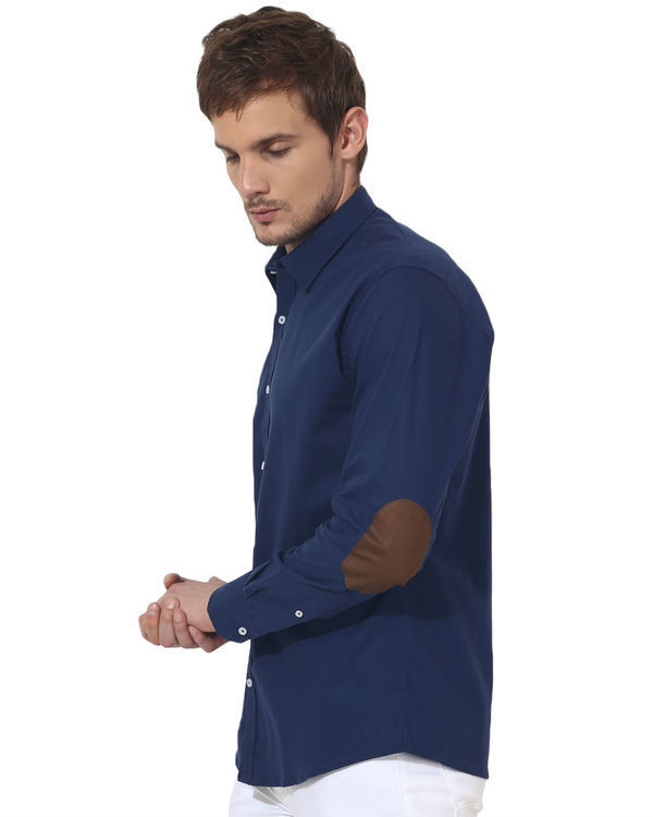 Blue golden elbow patch solid club wear shirt 2