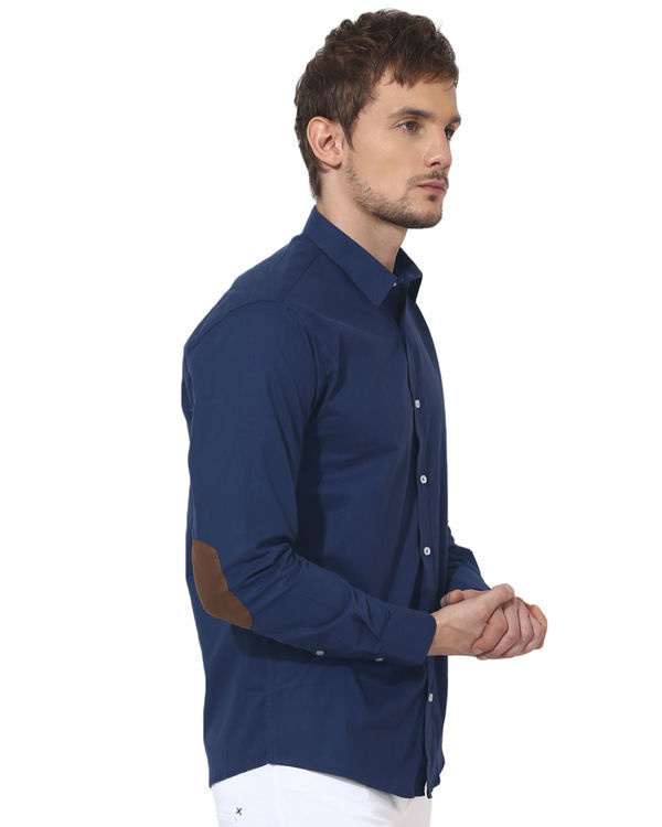 Blue golden elbow patch solid club wear shirt 3