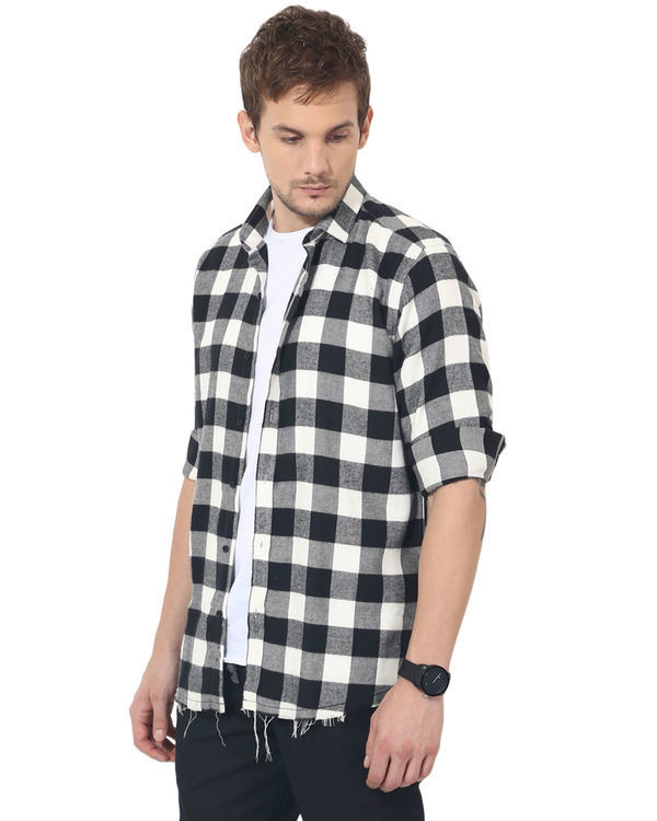 Black & white checks casual shirt 2