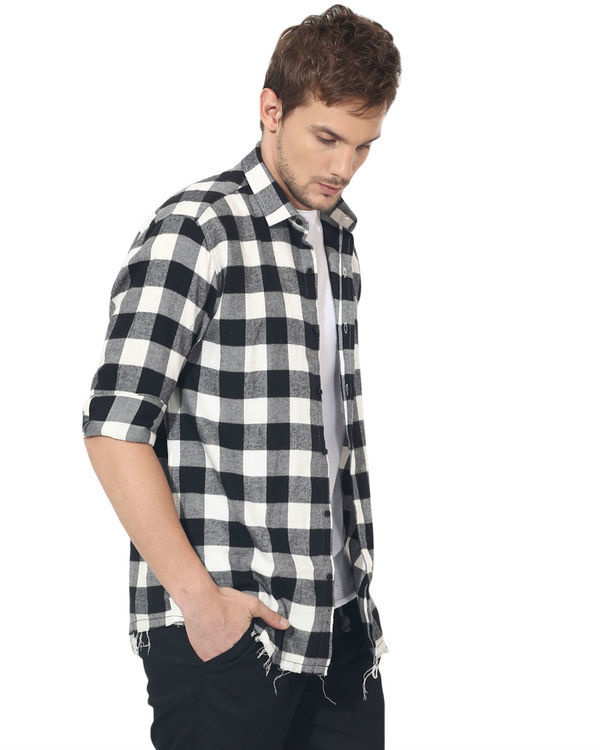 Black & white checks casual shirt 3
