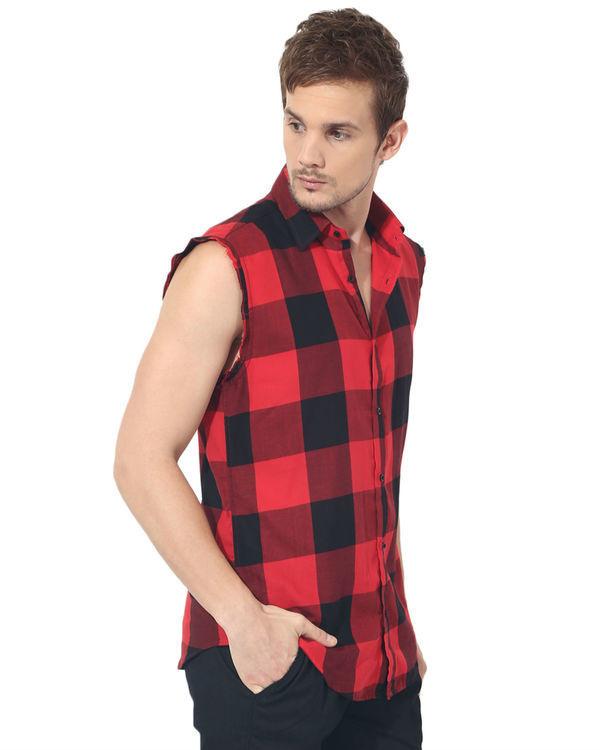 Black & red checks sleeveless casual shirt 3