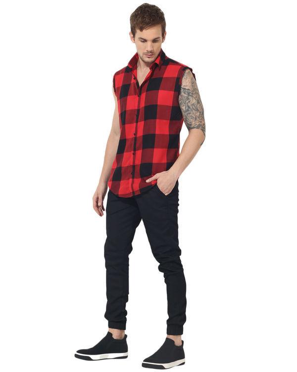 Black & red checks sleeveless casual shirt 4