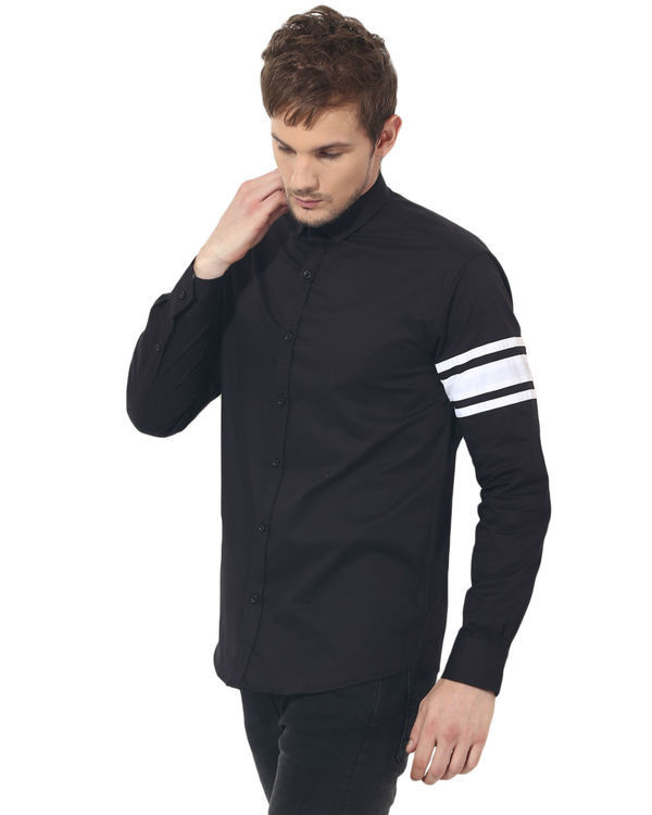 Black sleeve panel club wear shirt 3