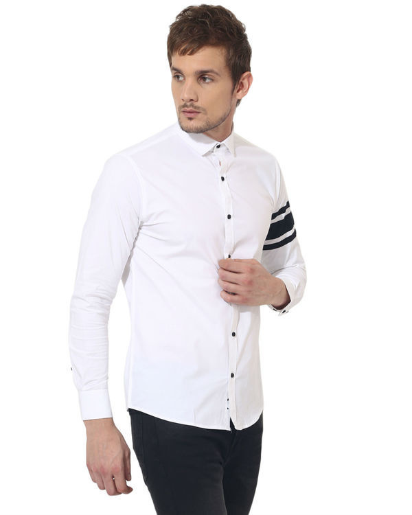 White sleeve panel club wear shirt 2