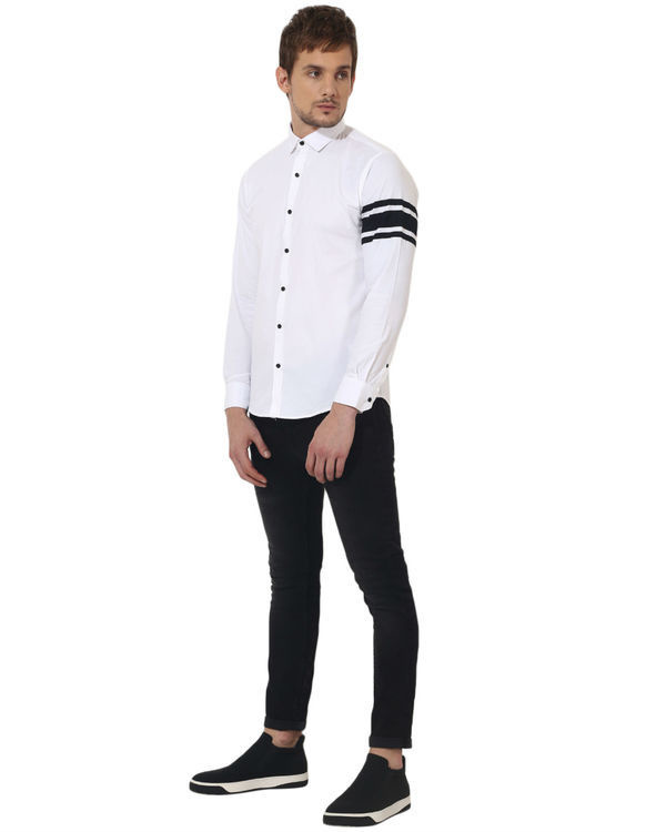 White sleeve panel club wear shirt 4