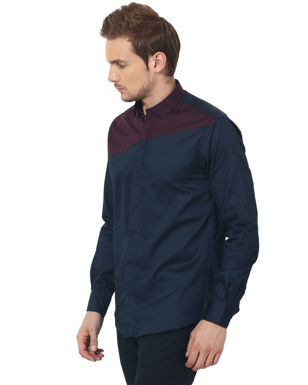 Maroon/blue panel club wear shirt 2