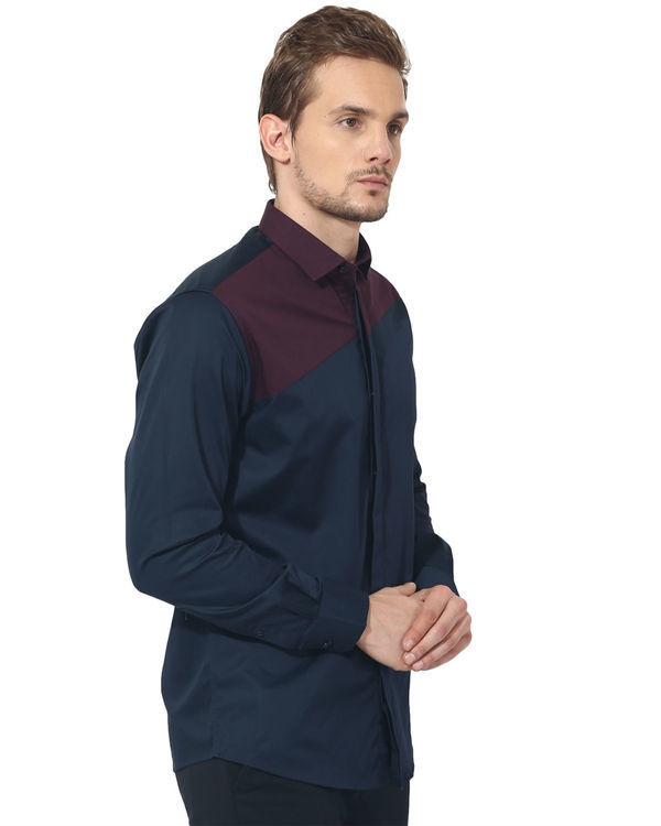 Maroon/blue panel club wear shirt 3