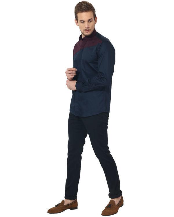 Maroon/blue panel club wear shirt 4