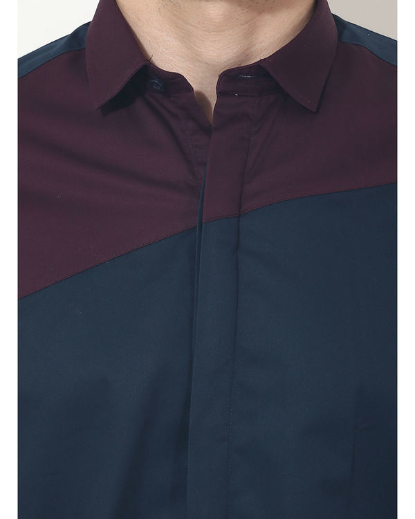 Maroon/blue panel club wear shirt 5