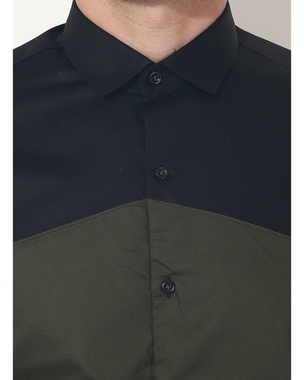 Olive triangle panel club wear shirt 4