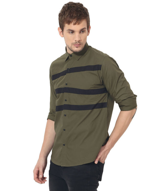 Olive stripes panel club wear shirt 2