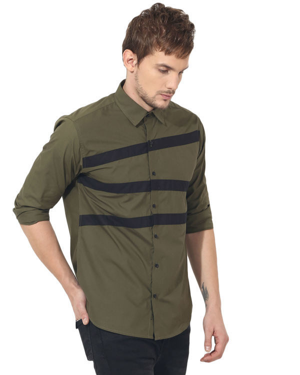 Olive stripes panel club wear shirt 3