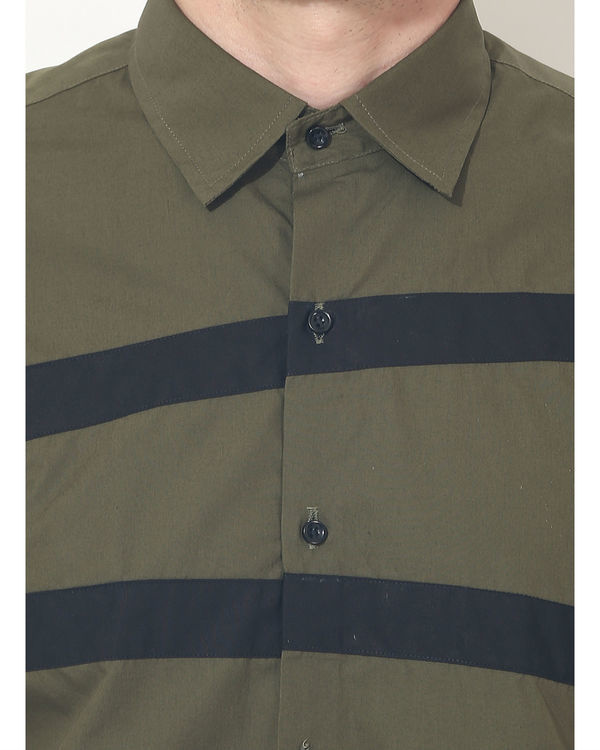 Olive stripes panel club wear shirt 4