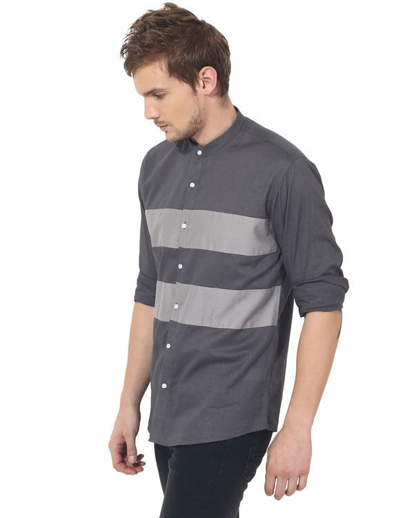 Grey two stripes panel club wear shirt 2