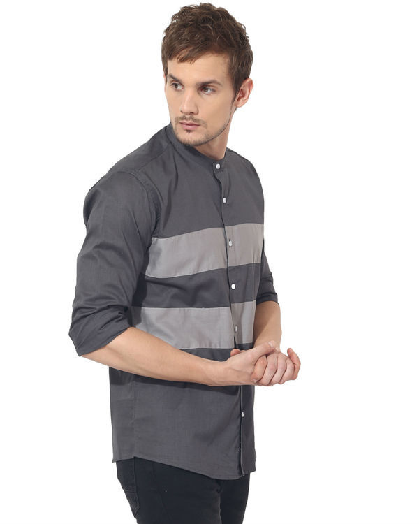 Grey two stripes panel club wear shirt 3
