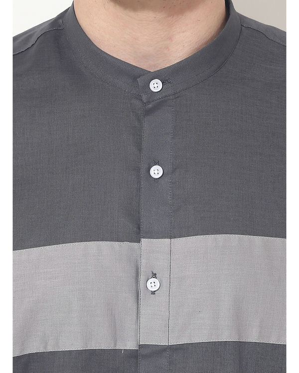 Grey two stripes panel club wear shirt 4