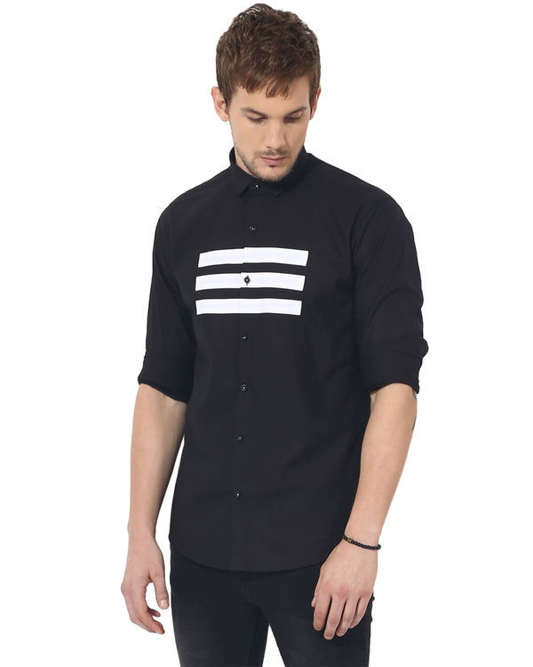 Black three stripes panel club wear shirt 2
