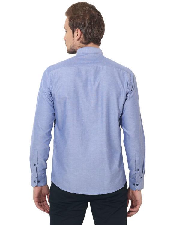 Blue shoulder patch panel club wear shirt 1