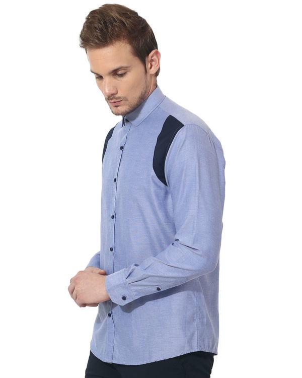 Blue shoulder patch panel club wear shirt 2