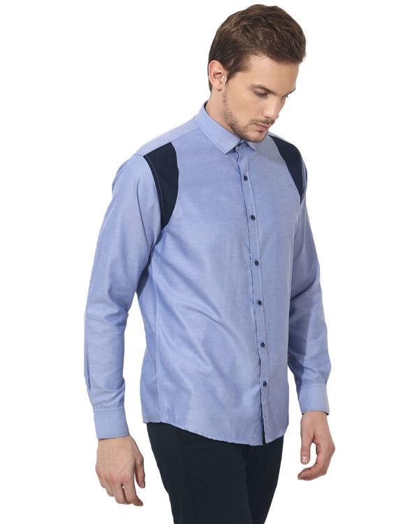 Blue shoulder patch panel club wear shirt 3