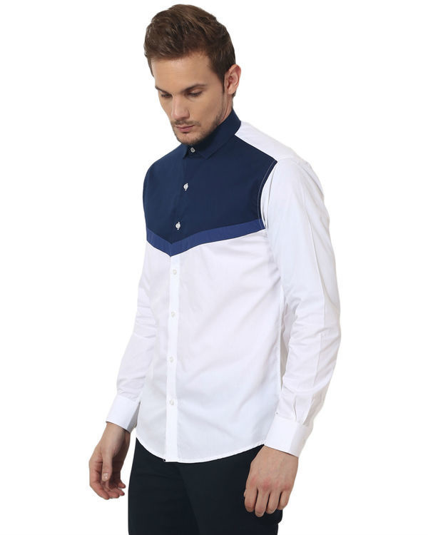 White/blue triangle panel club wear shirt 2