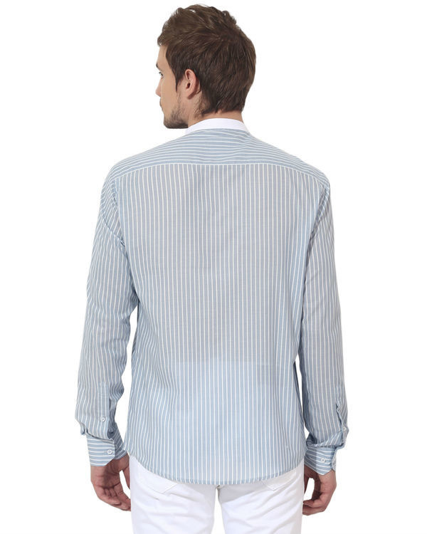 Sky blue executive collar stripes panel club wear shirt 1
