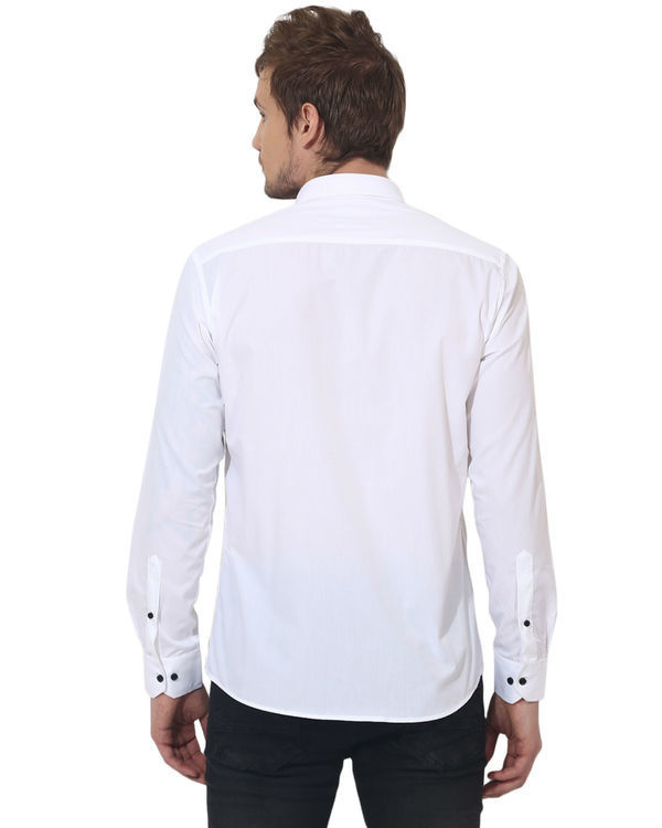 White/black triangle panel club wear shirt 1