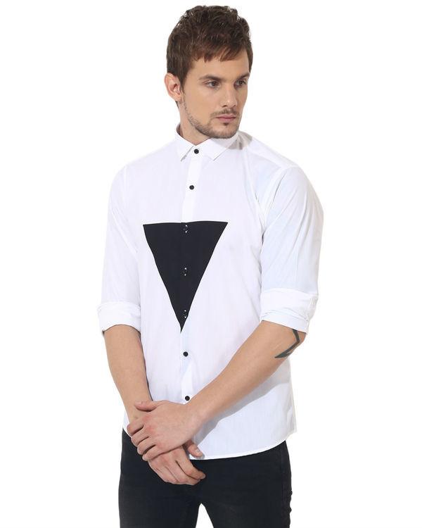 White/black triangle panel club wear shirt 2