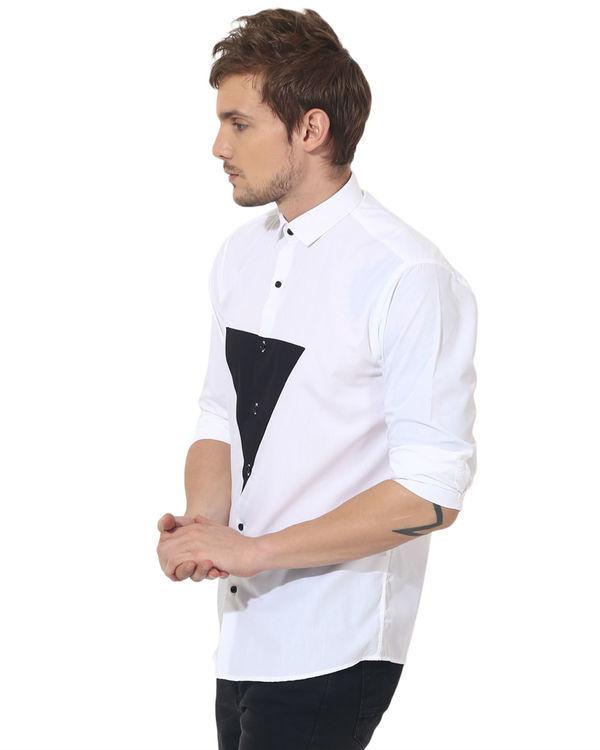 White/black triangle panel club wear shirt 3