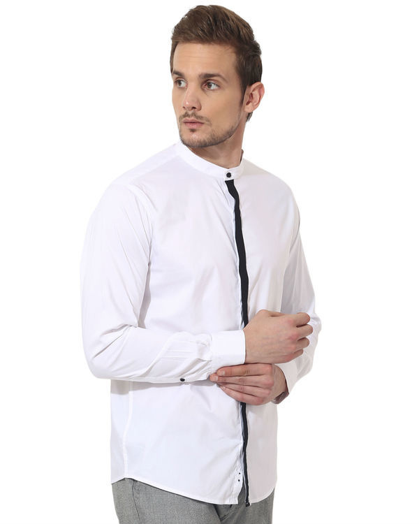 Black stripe - white panel club wear shirt 2