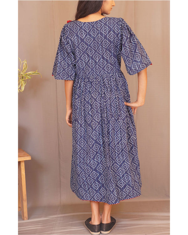 Floral polka gathered indigo dress 1
