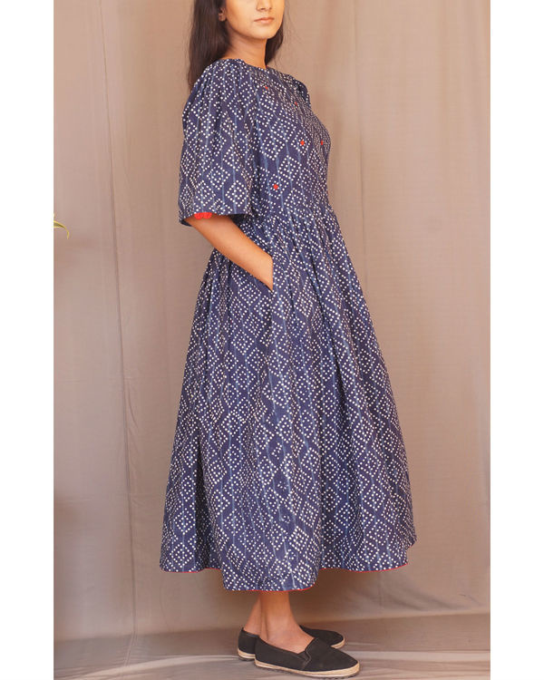 Floral polka gathered indigo dress 2