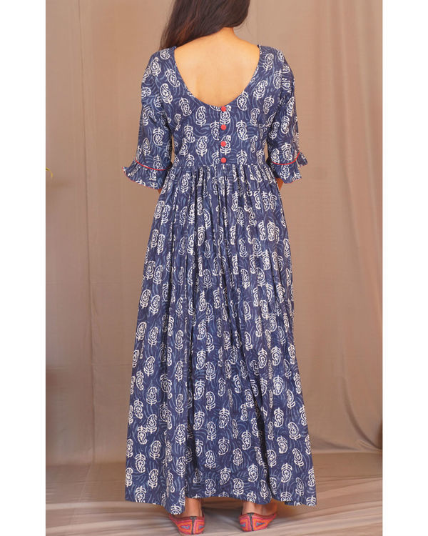 Floral paisley gathered indigo dress 1