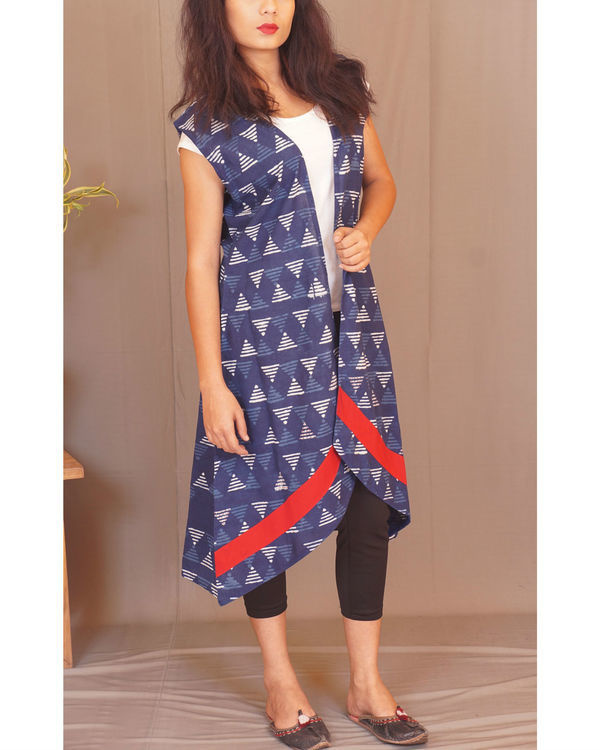 Geometry kantha indigo shrug 2
